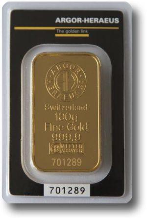 100 gram Sztabka Zlota -Argor-Heraeus Szwajcaria - Awers