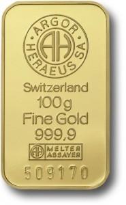 100 gram Sztabka Zlota Argor Heraeus Szwajcaria LBMA