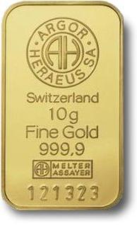 10g Sztabka Zlota Argor-Heraeus Szwajcaria akredytacja LBMA