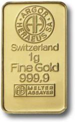 1 gram Sztabka Złota Argor-Heraeus Szwajcaria Awers