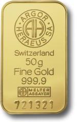 50 gram Sztabka Zlota Argor-Heraeus Szwajcaria LBMA