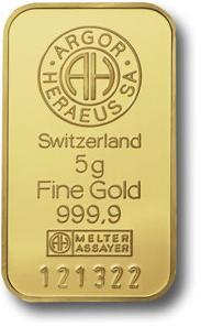 5 gram Sztabka Zlota Argor-Heraeus Szwajcaria Awers