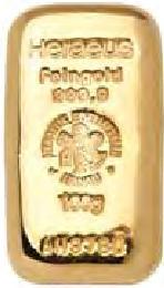 Sztabka złota Heraeus 100 gram