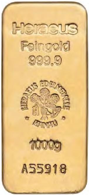 Sztabka złota Heraeus 1000 gram