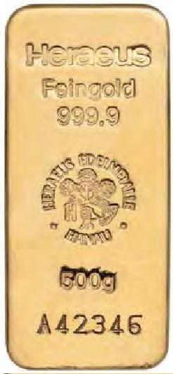 Sztabka złota Heraeus 500 gram