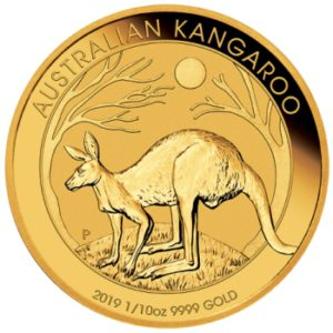 1/10 oz australijski-kangur-zlota-moneta-2020-rok-rewers
