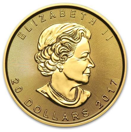 1/2 oz Kanadyjski-Lisc-Klonu-zlota-moneta-2017-awers