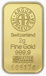 2 gramy Sztabka Złota Argor-Heraeus Szwajcaria Awers