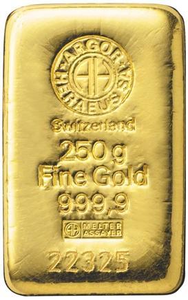 250 gram Sztabka Zlota Argor Heraeus Szwajcaria LBMA