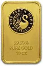10 uncji Sztabka Zlota Perth Mint Australia LBMA Certicard- Awers