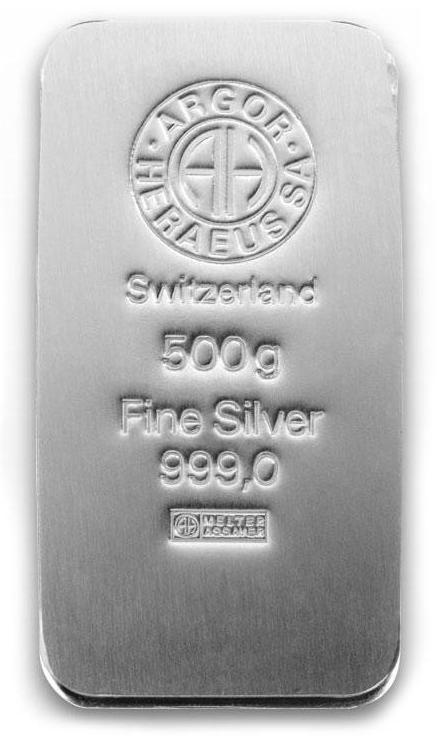 500 gram sztabka srebra Argor-Heraeus