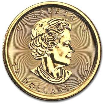 1/4 oz Kanadyjski-Lisc-Klonu-zlota-moneta-2017-awers