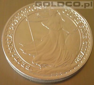 Srebrna moneta Britannia rocznik 2013 - Awers