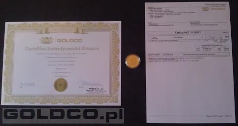 Zloty Australijski Kangur Rocznik 2013 1oz Certyfikat Autentyczności Kruszcu GOLDCO