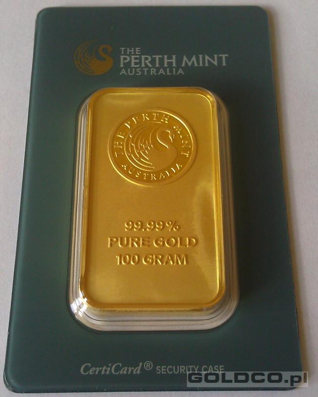 sztabka-zlota-100-g-gram-Perth-Mint-Certicard
