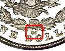 Srebrna-Moneta-Morgan-Dollar-oznaczenie-mennicy