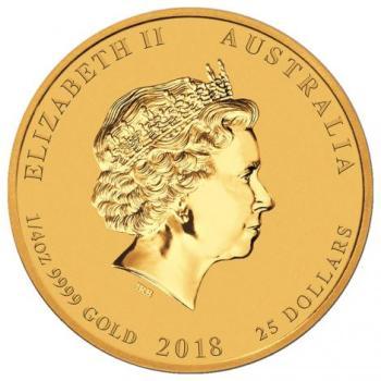1/4oz Australijska Seria Księżycowa Rok Psa 2018 złota moneta