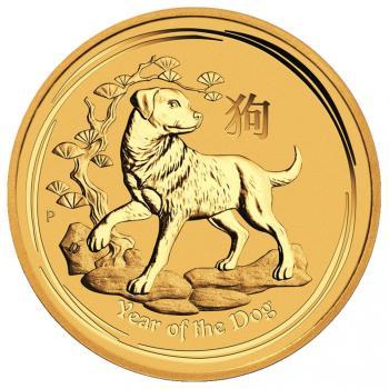 1oz Australijska Seria Księżycowa Rok Psa 2018 złota moneta