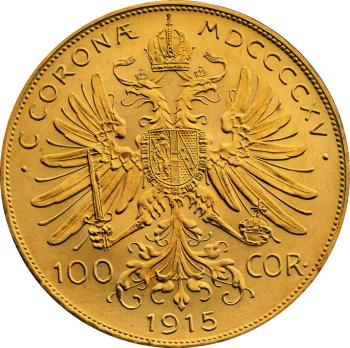 100-Koron-Austriackich-1915-zlota-moneta-Rewers