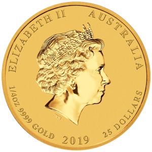 1-4-oz-Rok-Swini-2019-Seria-Ksiezycowa-zlota-moneta-awers