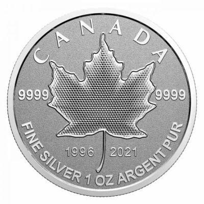 1oz-Lisc-Klonu-25lat-emisji-srebrnych-monet-rewers