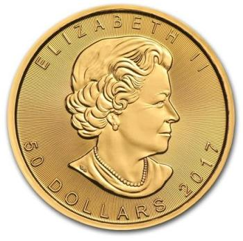 1oz-Kanadyjski-Lisc-Klonu-zlota-moneta-2017-awers