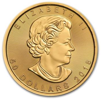 1oz-Lisc-Klonu-2018-zlota-moneta-awers