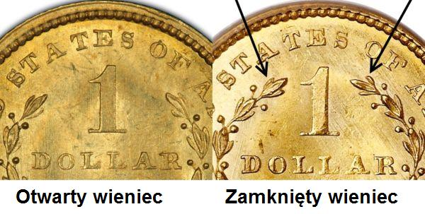 1-Dollar-1849-USA-otwarty-zamkniety-wieniec