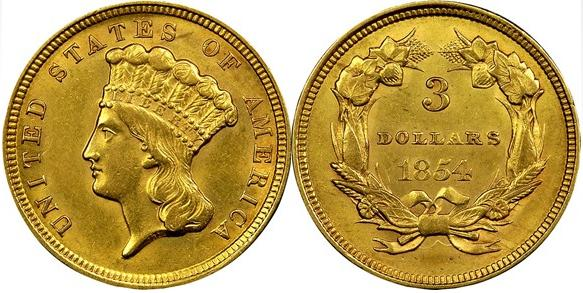 moneta-zlota-3-dolary-Liberty-1854-1899-United-States-of-America