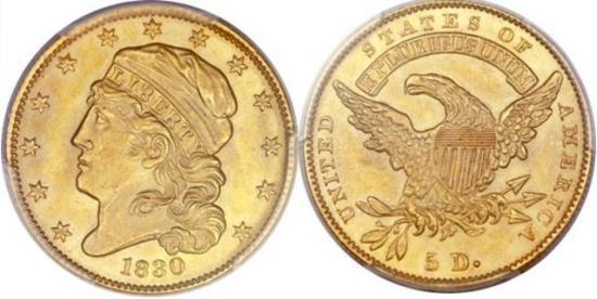 moneta-zlota-5-dolarow-USD-Liberty-1830-United-States-of-America