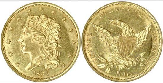 moneta-zlota-5-dolarow-USD-Liberty-1834-1838-United-States-of-America