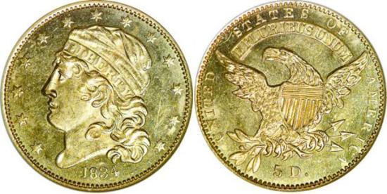 moneta-zlota-5-dolarow-USD-Liberty-1834-United-States-of-America