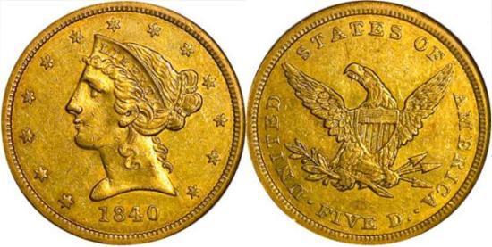 moneta-zlota-5-dolarow-USD-Liberty-1840-United-States-of-America