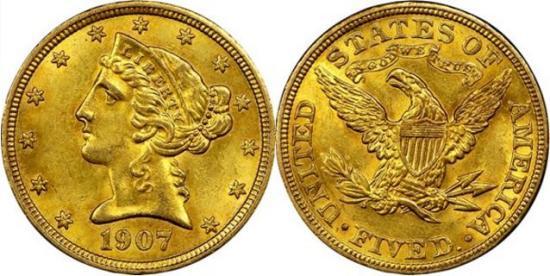 moneta-zlota-5-dolarow-USD-Liberty-1907-United-States-of-America