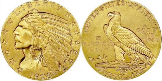moneta-zlota-5-dolarow-USD-Liberty-1908-1929-United-States-of-America