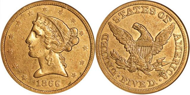 moneta-zlota-5-dolarow-USD-Liberty-bez-motta-1866-United-States-of-America