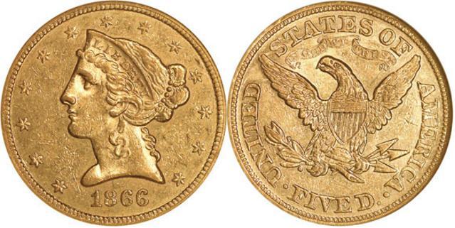 moneta-zlota-5-dolarow-USD-Liberty-motto-1866-United-States-of-America