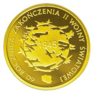 200zl-60-rocznica-zakonczenia-II-wojny-zlota-moneta-awers