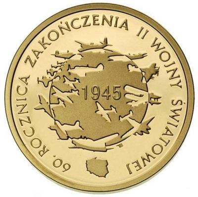 200zl-60rocznica-zakonczenia-II-wojny-zlota-moneta-awers