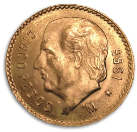 5 Pesos złota moneta rocznik 1955