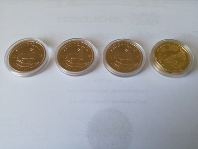 Zestaw złotych monet Krugerrand 2018 oraz Kangur 2018